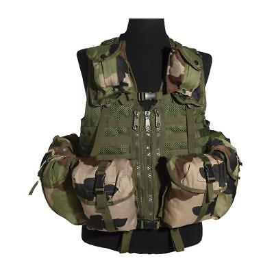 Mil-Tec 8 Pouch MOLLE Army Airsoft Combat Assault Vest Carrier Rig CCE Woodland
