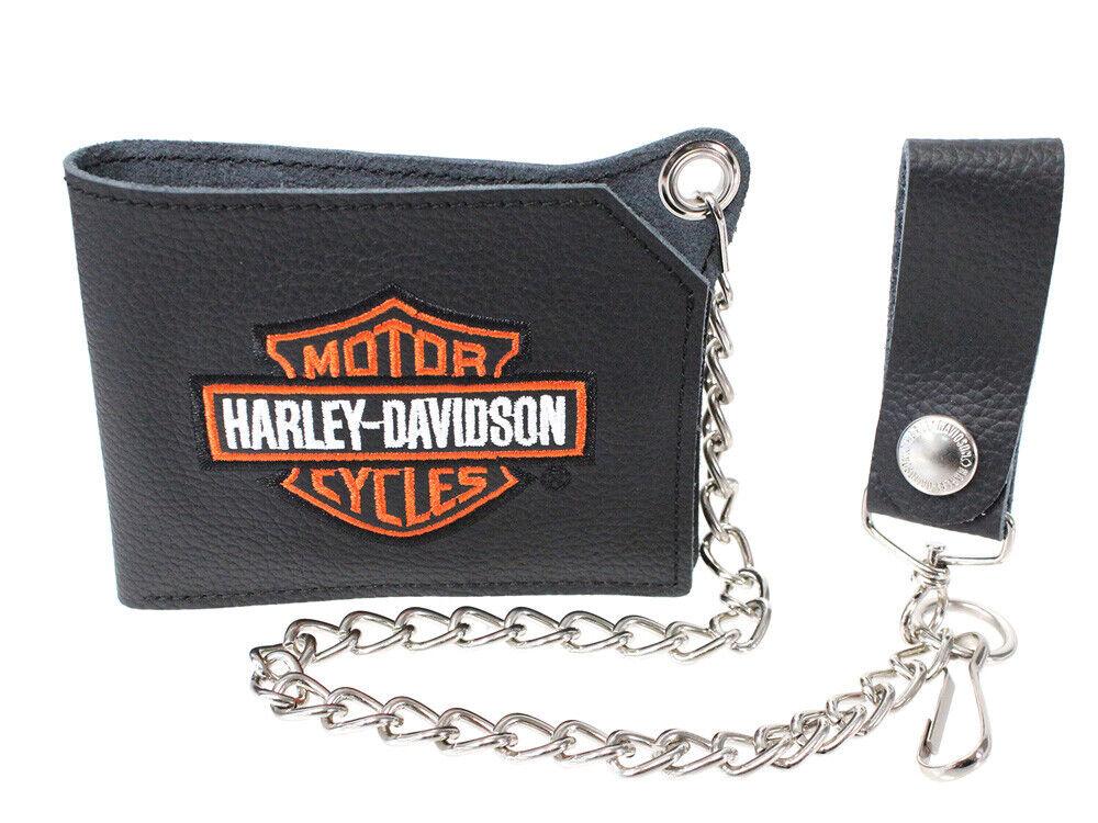 Harley-Davidson Mens Orange B&S Embroidered Black Leather Bifold Wallet w/ Chain