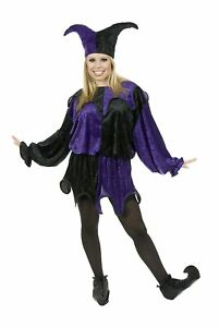 Jester Black Purple Medieval Court Clown Fancy Dress Up Halloween Adult Costume