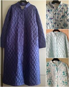 LADIES QUILTED BUTTON THROUGH DRESSING GOWN/ROBE UK SIZES 10-24 | eBay : ladies quilted dressing gowns - Adamdwight.com