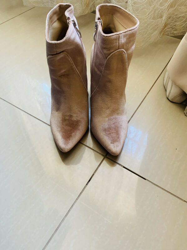 Pink suede boots -size 4