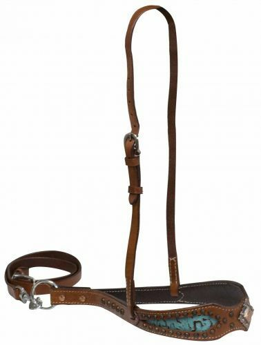 Leather Tiedown Hanger Nose Band Caveson Horse w Teal Filigree & Copper Conchos