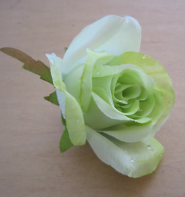 "3"" Sheer Lime  Dewdrop  Rose Silk Flower Hair Clip, Dance, Prom, Party, Beach"