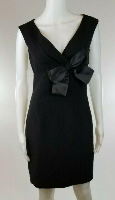 MAGGY LONDON Sleeveless Sheath Dress Black with Bow Knee Length Women's Size 6