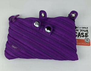 Pen & Pencil Case, ZIPIT Monster, Purple Pencil Pouch with Binder 3 Rings,  New