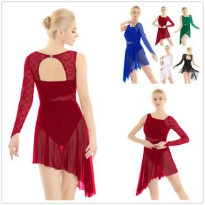 Women-Girl-Lyrical-Lace-Mesh-Dance-Costume-Dress-Asymmetric-Skirt-Leotard-Ballet