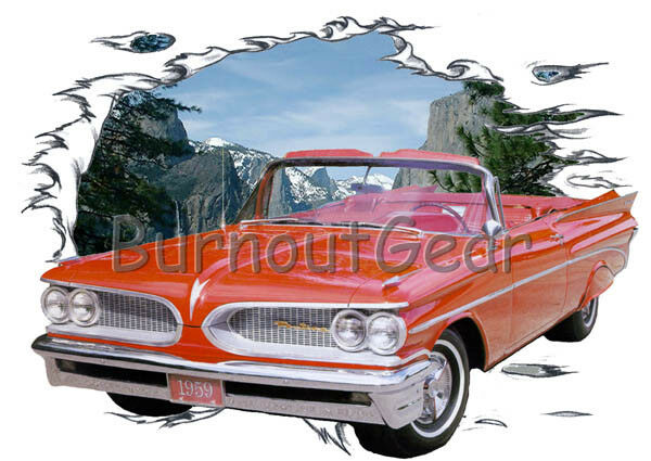 1959 ROT Pontiac Convertible Custom Hot Rod Mountain T-Shirt 59 Muscle Car Tees
