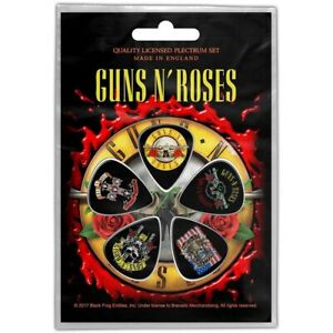 Official-Merch-5-PLECTRUM-PACK-1mm-Guitar-Picks-GUNS-N-ROSES-Bullet-Logo