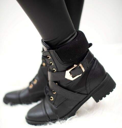 WOMENS LADIES ANKLE LACE UP MILITARY BLACK BUCKLE COMBAT WINTER BOOTS SHOES SIZE