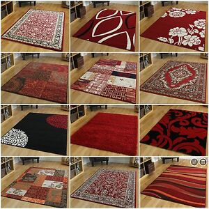 new small large modern floor carpets soft easy clean red living room rugs cheap ebay. Black Bedroom Furniture Sets. Home Design Ideas