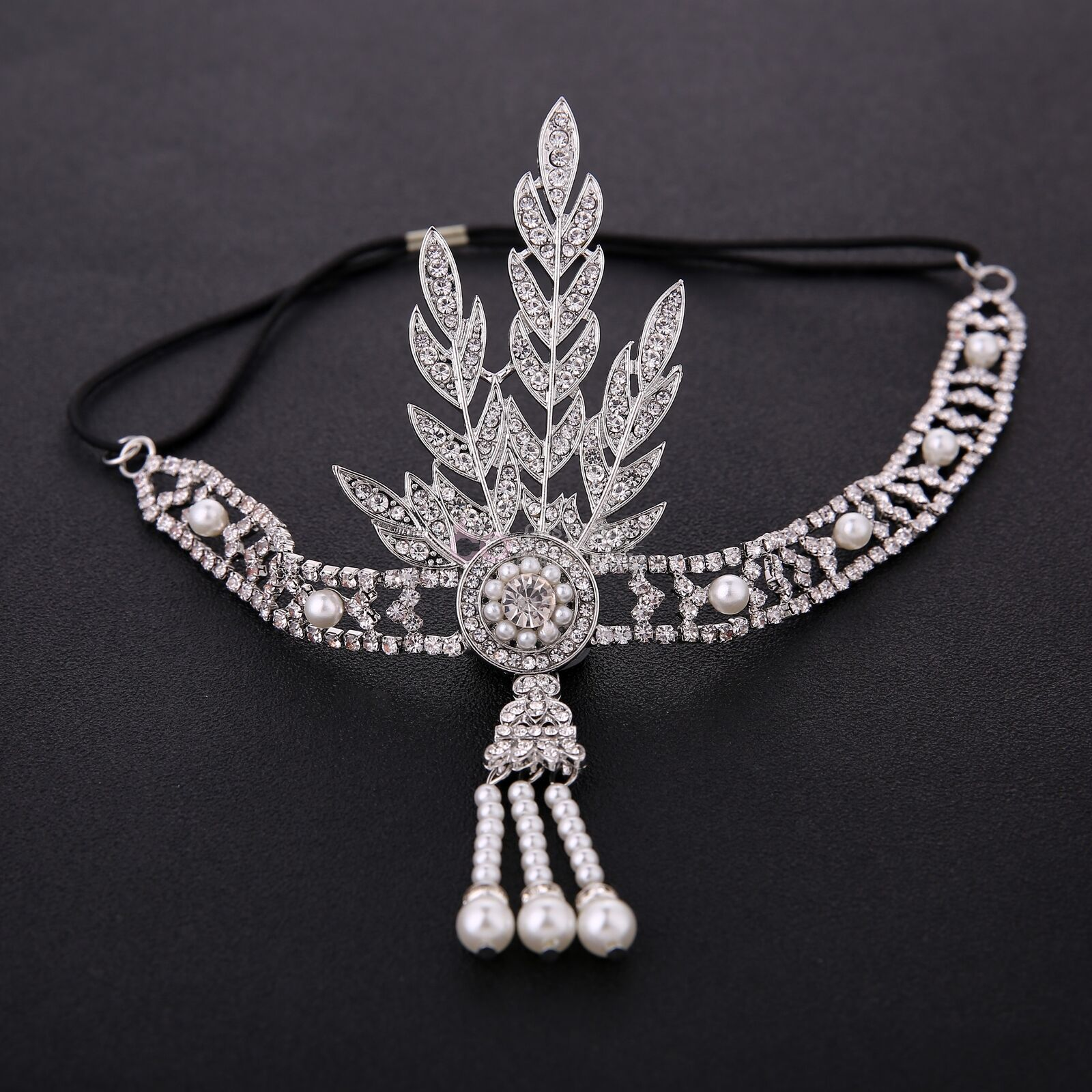 1920s 20s Gatsby Headband Vintage Bridal Headpiece Silver Gold Costume Accessory