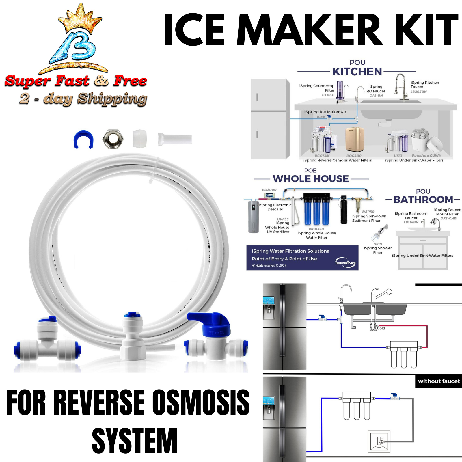 Reverse Osmosis Systems Refrigerators and Under Sink Water Replacement Parts with Water Filters Drinkpod Universal Ice Maker Water Line Kit Installation Kit for Standard 1//4 Water Filter Systems