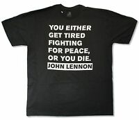John Lennon get Tired Black T-shirt Official Adult Peace Quote Beatles