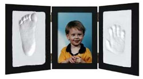 BLACK - CLAY KEEPSAKE & PHOTO DESKTOP FRAME KIT Handprint Footprint Impression