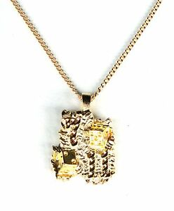 Chain-Necklace-Gold-Plated-Lucky-Nugget-Pendant-7-11-Charm-Dice-Free-Shipping