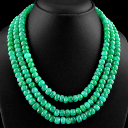 789.00 CTS EARTH MINED 3 STRAND RICH GREEN EMERALD ROUND SHAPE BEADS NECKLACE