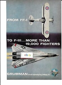 GRUMMAN FROM FF-1 TO F-111 MORE THAN 19,000 FIGHTERS BUILT 1960'S AD