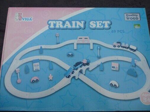 Viga wooden toy Train set (49 pcs) ages 3 + VAT included