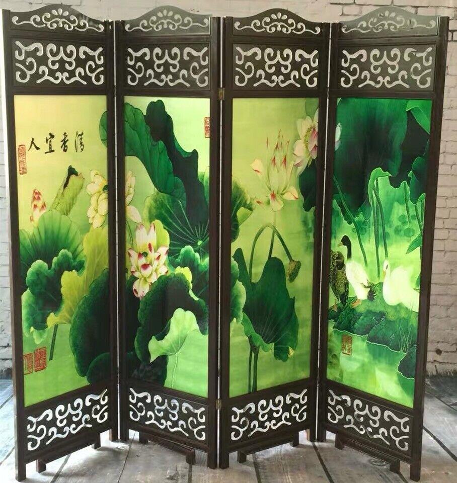 4 to 6 leaf Folding screen both side hardwood frame Privacy Screen Room Divider