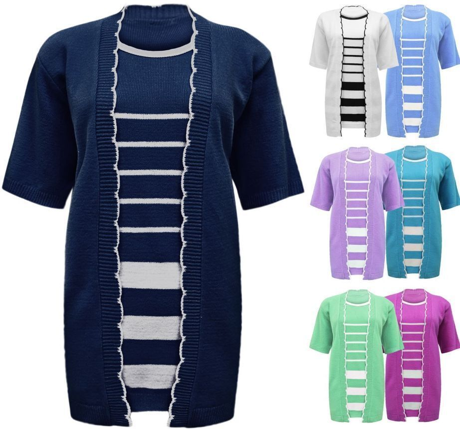 WOMENS LADIES STRIPED KNITTED TWINSET SHORT SLEEVE CARDIGAN JUMPER TOP PLUSSIZE