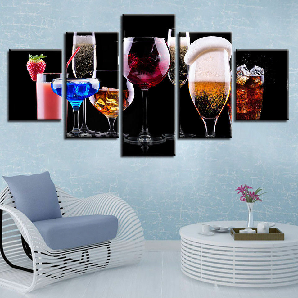 Wine Glass Cocktail Bar Drink 5 panel canvas Wall Art Home Decor Poster Picture