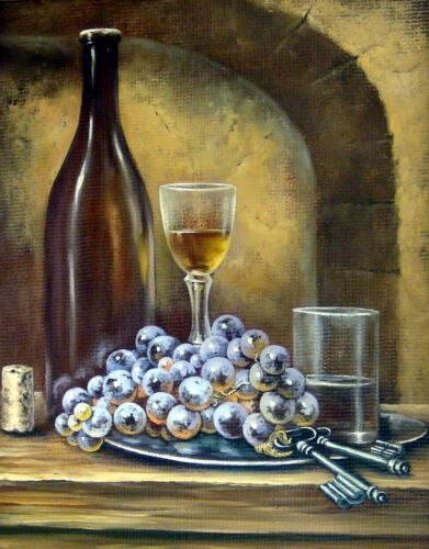 Beautiful Vine bottle glass grapes Print Home Decor Wall Art choose your size