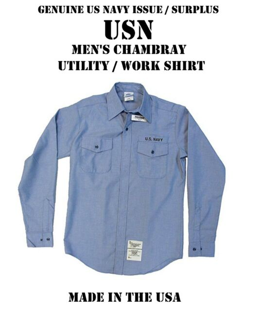 776694683d37 US MILITARY NAVY USN BLUE CHAMBRAY UTILITY WORK LONG SLEEVE SHIRT MEN'S L  ...