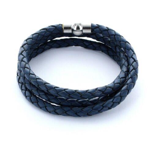 Hombre favorito ® pulsera pulsera de cuero 0,5cm 3x envuelto color azul