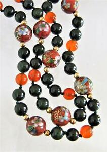 Vintage Chinese Cloisonne Jade Carnelian Solid 14K Gold Bead Long Necklace
