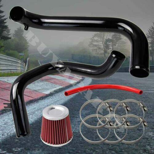 "2001-2005 Honda Civic Black Cold Air Intake System Kit w// 2.5/"" Red Air Filter"