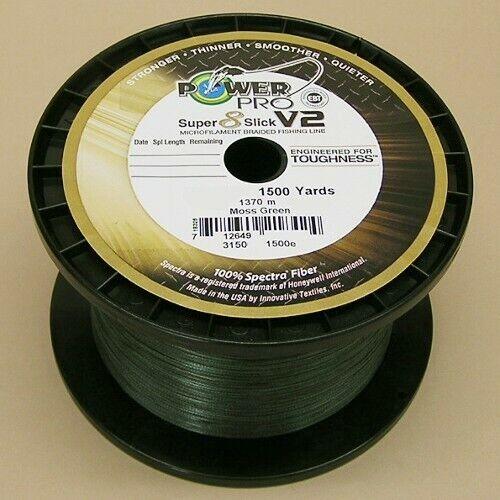 environ 22.68 kg Power Pro Super Slick V2 Tressé Ligne de pêche 50 LB environ 1371.60 m Moss Green 50# Test 1500 Yd