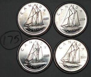Canada-2005P-2006L-2007-2008-10-cents-Canadian-Dimes-Lot-175