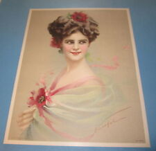 Old Vintage 1910 - Antique VICTORIAN PRINT - Fancy Lady with Red Flowers