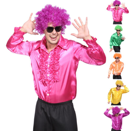 Mens 70s Disco Dancing Suit Dance Night Metallic Shirt Fancy Dress Costume