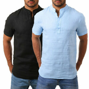 Mens-Stand-Collar-Shirt-Solid-Tops-Short-Sleeve-Button-Casual-Beach-Formal-Party