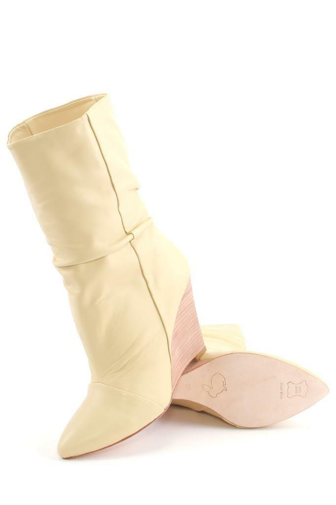 Plomo Dominique Boot Boot Dominique Sand Ankle Bootie Fold over pointed toe Wedge Cream Beige ad3f94