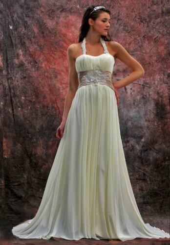Brautkleid Hochzeit Abendkleid Ballkleid Partykleid Chiffon Weiß Creme 36-54