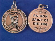 St Charles Borromeo Patron St of DIETING Saint Medal Silver Weight Loss ITALY
