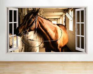 F664-Brown-establo-de-caballos-en-la-g-pegatina-pared-vinilo-3d-habitacion-ninos