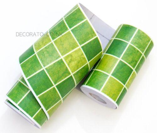 Green Mosaic Peel Stick Wallpaper Border Sticky Back Self Adhesive Bathroom Wide