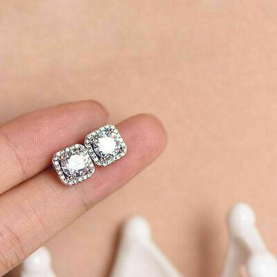 Brilliant Heart Cut 1.50Ct Diamond Halo Earrings Fine 14Kt White Gold Stud Over