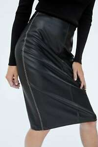 cuciture a S nera Uk Zara ecopelle contrasto Bnwt in taglia Gonna con xpaHOwYq