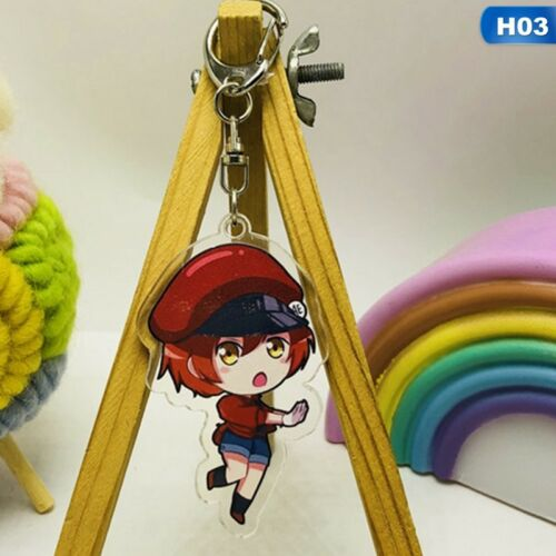 CELLS AT WORK NEW. ANIME DOUBLE SIDED KEYRING KEYCHAIN KEYFOB