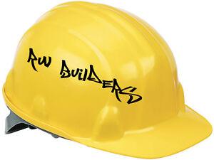 2 x PERSONALISED HARD HAT HELMET NAME STICKERS VINYL BUSINESS BUILDER