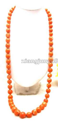 """SALE Big 9-15mm Red Round Natural High Quality Coral Long 34/"""" necklace-nec5890"""