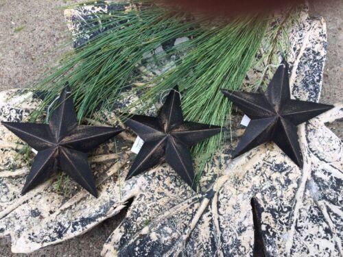 "Set of 5 DISTRESSED BLACK BARN STARS 5.5/"" PRIMITIVE RUSTIC COUNTRY FARMHOUSE"