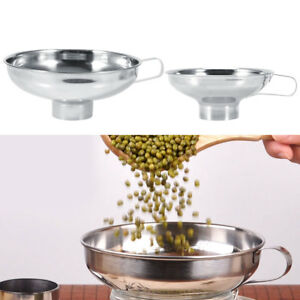 Small-Large-Wide-Mouth-Funnel-W-Handle-Stainless-Steel-Sugar-Beans-Grains