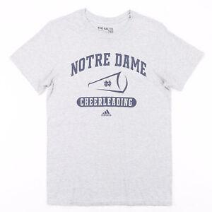 ADIDAS Notre Dame Cheerleading Grey College Short Sleeve T-Shirt Mens S