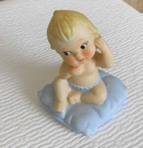 Vintage LEGO Japan Porcelain Figurine Baby Sitting On Pillow Bisque 3554
