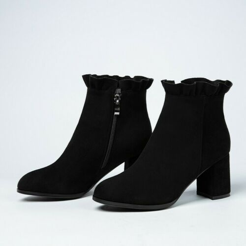 Details about  /New Women Office Work Casual Zip Up Round Toe Ankle Boots Pumps Mid Heel Shoes D